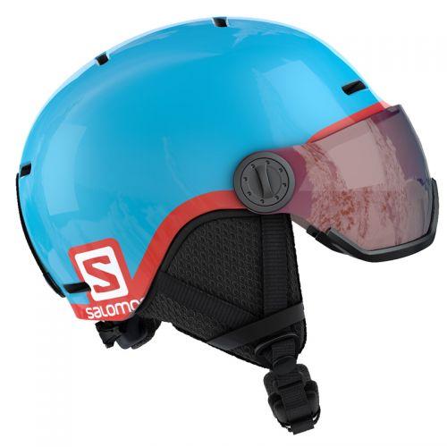 656a5782d Salomon Driver skihjelm med visir - Dress Blue/Moroccan